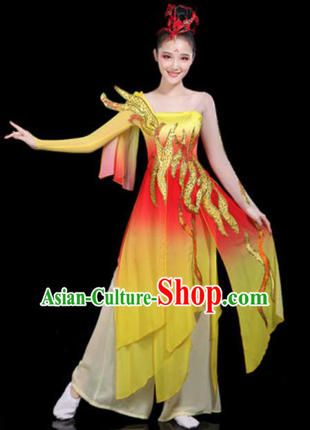 Traditional Chinese Classical Dance Dress Umbrella Dance Group Dance Stage Performance Costume for Women