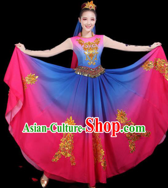 Traditional Chinese Minority Ethnic Dance Dress Uyghur Nationality Stage Performance Costume for Women