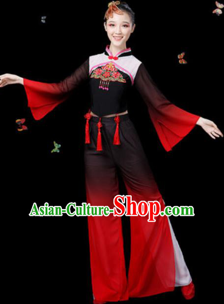 Traditional Chinese Yangko Group Dance Black Clothing Folk Dance Fan Dance Stage Performance Costume for Women