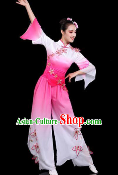 Traditional Chinese Folk Dance Pink Clothing Yangko Group Dance Fan Dance Stage Performance Costume for Women