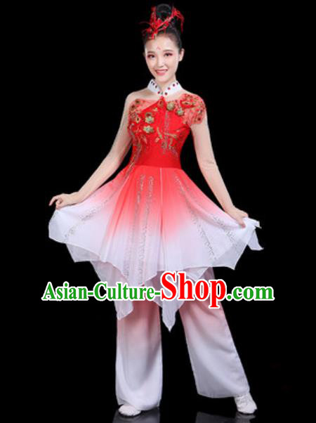Traditional Chinese Classical Dance Red Dress Umbrella Dance Group Dance Stage Performance Costume for Women