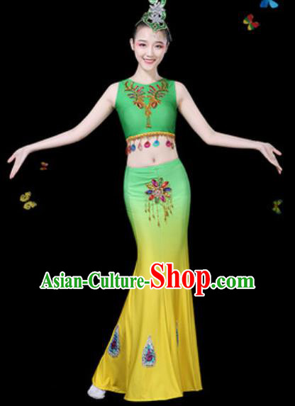 Traditional Chinese Minority Ethnic Peacock Dance Gradient Green Dress Dai Nationality Stage Performance Costume for Women