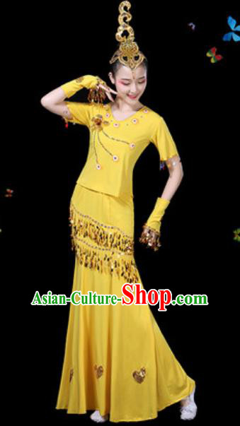 Traditional Chinese Minority Ethnic Peacock Dance Yellow Dress Dai Nationality Stage Performance Costume for Women