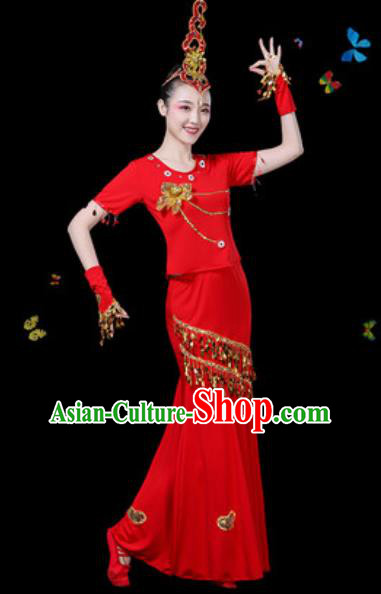 Traditional Chinese Minority Ethnic Peacock Dance Red Dress Dai Nationality Stage Performance Costume for Women