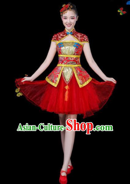 Traditional Chinese Yangko Red Dress Folk Dance Drum Dance Stage Performance Costume for Women