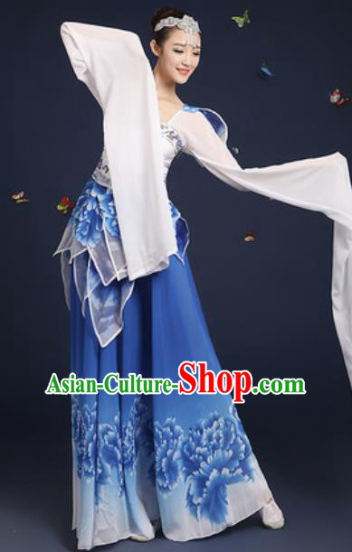 Chinese Traditional Umbrella Dance Lotus Dance Blue Dress Classical Dance Stage Performance Costume for Women