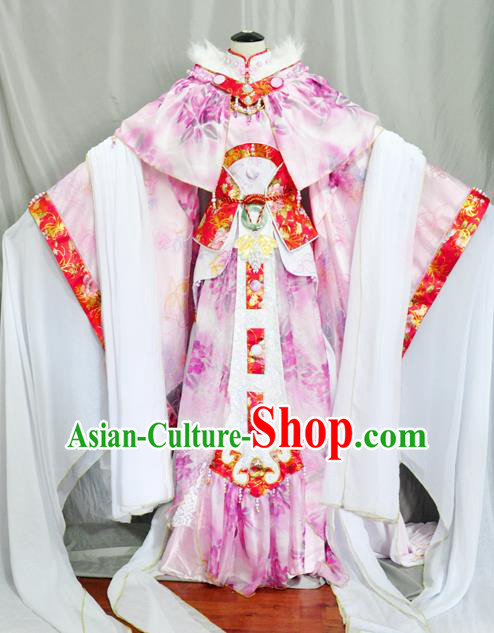 Traditional Chinese Han Dynasty Princess Pink Hanfu Dress Ancient Empress Embroidered Costume for Women