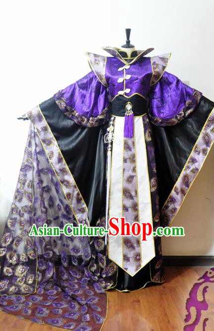 Traditional Chinese Cosplay Swordsman Purple Hanfu Clothing Ancient Prince Embroidered Costume for Men