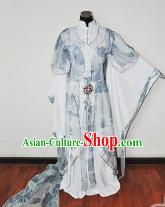 Traditional Chinese Han Dynasty Swordswoman Blue Hanfu Dress Ancient Female Knight Embroidered Costume for Women