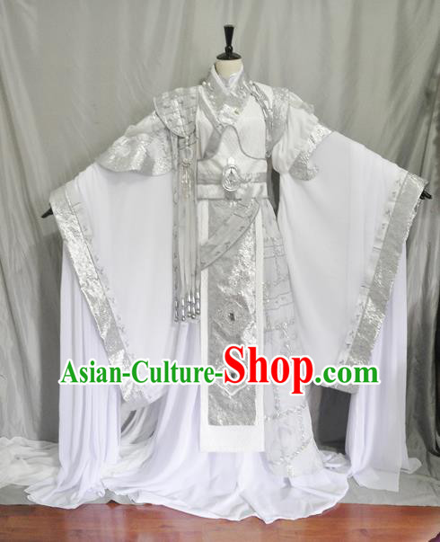 Traditional Chinese Cosplay Swordsman White Hanfu Clothing Ancient Prince Embroidered Costume for Men
