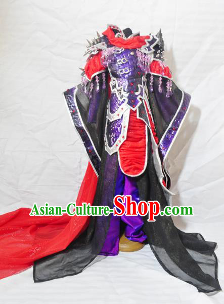 Traditional Chinese Han Dynasty Female General Purple Hanfu Dress Ancient Swordswoman Embroidered Costume for Women