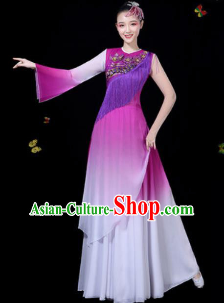 Traditional Chinese Classical Dance Purple Dress Umbrella Dance Group Dance Stage Performance Costume for Women