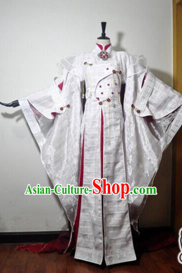Traditional Chinese Cosplay Taoist Nun White Hanfu Dress Ancient Swordswoman Embroidered Costume for Women