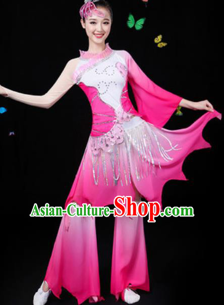 Chinese Traditional Classical Dance Lotus Dance Rosy Dress Umbrella Dance Group Dance Stage Performance Costume for Women