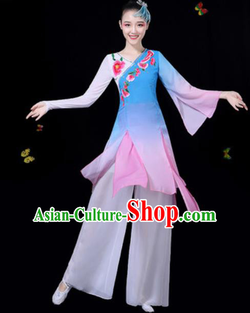 Traditional Chinese Classical Dance Blue Dress Umbrella Dance Group Dance Stage Performance Costume for Women
