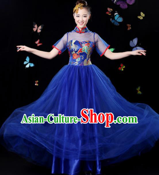Chinese Traditional Classical Dance Royalblue Veil Dress Umbrella Dance Group Dance Stage Performance Costume for Women