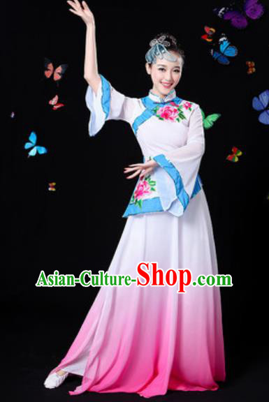 Chinese Traditional Classical Dance White Dress Umbrella Dance Group Dance Stage Performance Costume for Women