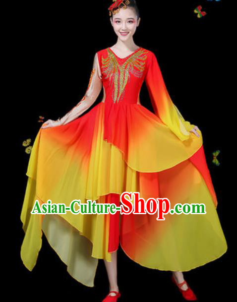 Chinese Traditional Classical Dance Red Dress Umbrella Dance Group Dance Stage Performance Costume for Women