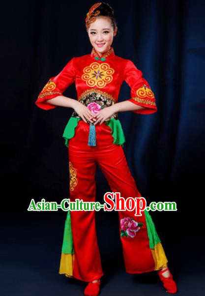 Traditional Chinese Yangko Fan Dance Group Dance Red Clothing Folk Dance Stage Performance Costume for Women