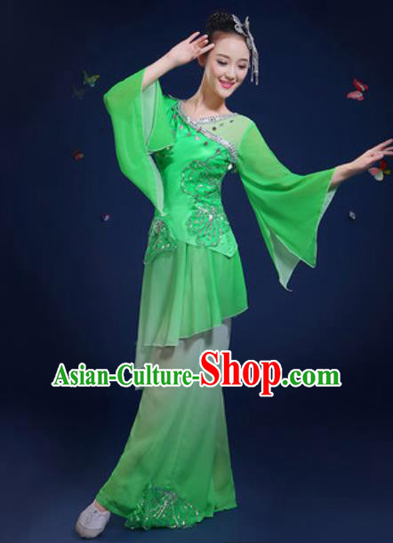 Chinese Traditional Classical Dance Group Dance Green Dress Umbrella Dance Stage Performance Costume for Women