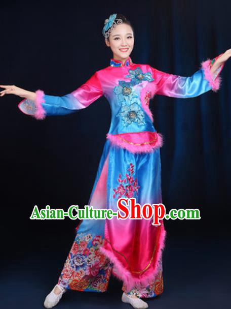 Traditional Chinese Yangko Fan Dance Group Dance Winter Clothing Folk Dance Stage Performance Costume for Women