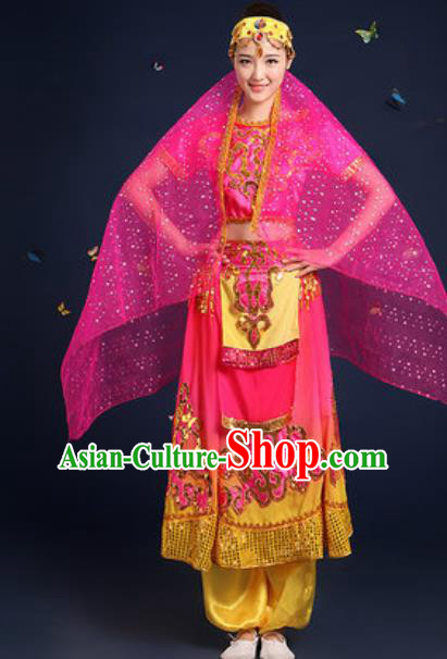 Traditional Chinese Minority Ethnic Dress Uyghur Nationality Dance Stage Performance Rosy Costume for Women