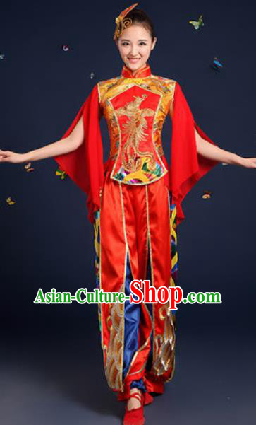 Traditional Chinese Drum Dance Red Clothing Folk Dance Yangko Stage Performance Costume for Women