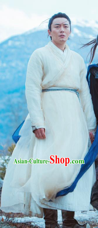 Chinese Ancient Swordsman Zhang Cuishan Drama Heavenly Sword Dragon Slaying Saber Historical Costume for Men
