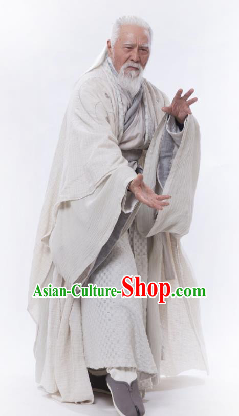 Chinese Ancient Swordsman Taoist Priest Zhang Sanfeng Drama Heavenly Sword Dragon Slaying Saber Historical Costume for Men