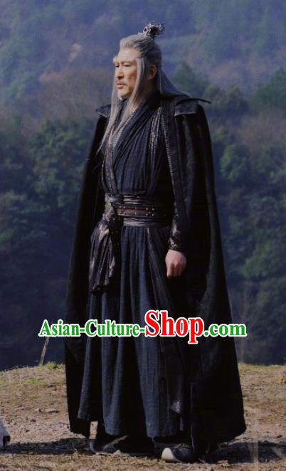 Heavenly Sword Dragon Slaying Saber Chinese Ancient Swordsman Black Historical Costume for Men