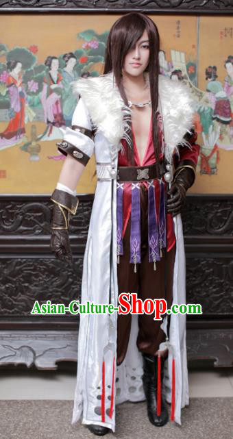 Traditional Chinese Cosplay Young Swordsman Hanfu Clothing Ancient Knight Hero Embroidered Costume for Men