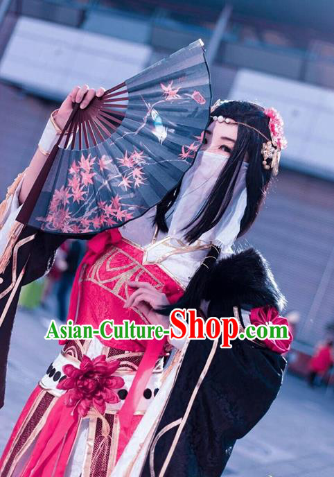 Traditional Chinese Cosplay Peri Red Hanfu Dress Ancient Swordswoman Embroidered Costume for Women