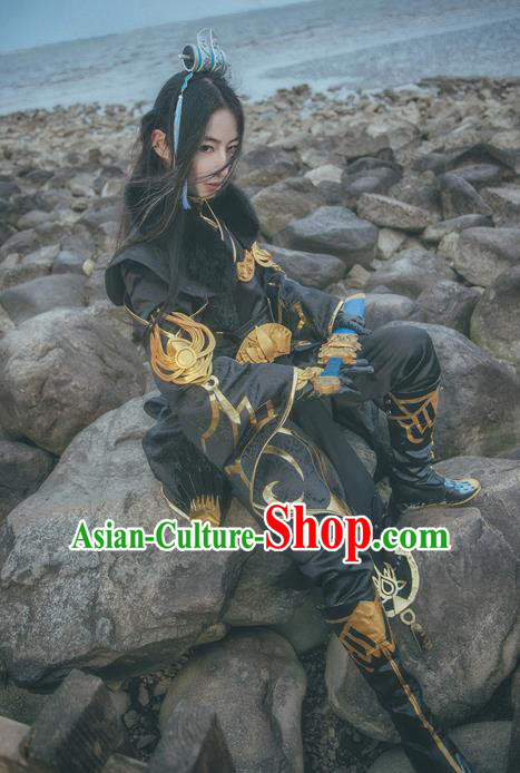 Traditional Chinese Cosplay Nobility Childe Black Hanfu Clothing Ancient Swordsman Embroidered Costume for Men