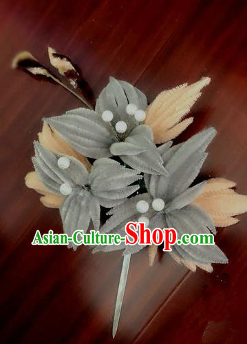 Traditional Chinese Qing Dynasty Grey Velvet Flowers Hairpins Handmade Ancient Palace Hair Accessories for Women