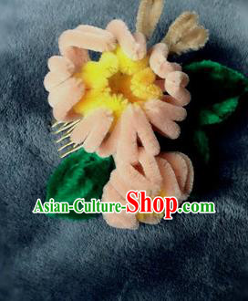 Traditional Chinese Qing Dynasty Orange Velvet Flowers Hairpins Handmade Ancient Palace Hair Accessories for Women
