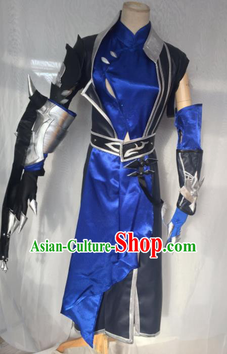 Traditional Chinese Cosplay Kawaler Royalblue Hanfu Clothing Ancient Swordsman Embroidered Costume for Men