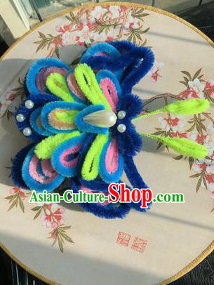 Traditional Chinese Qing Dynasty Velvet Butterfly Hair Claw Hairpins Handmade Ancient Palace Hair Accessories for Women
