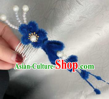 Traditional Chinese Qing Dynasty Royalblue Velvet Flowers Hair Comb Hairpins Handmade Ancient Palace Hair Accessories for Women