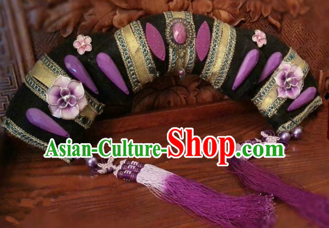 Traditional Chinese Qing Dynasty Palace Lady Purple Tassel Headwear Ancient Manchu Hair Accessories for Women