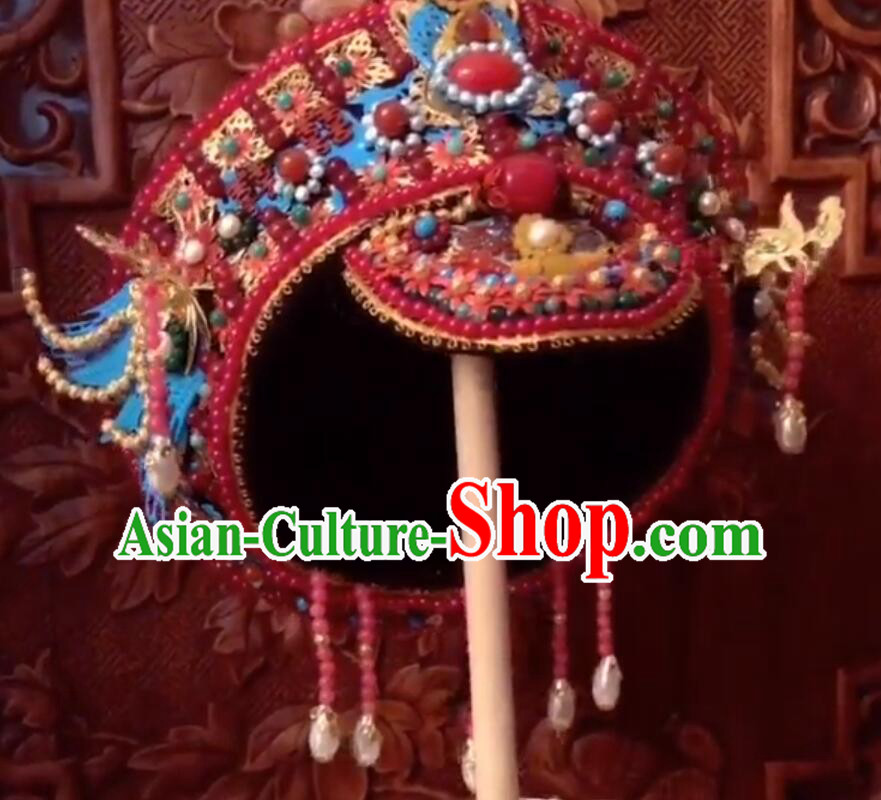 Traditional Chinese Qing Dynasty Palace Lady Red Hat Headwear Ancient Manchu Hair Accessories for Women