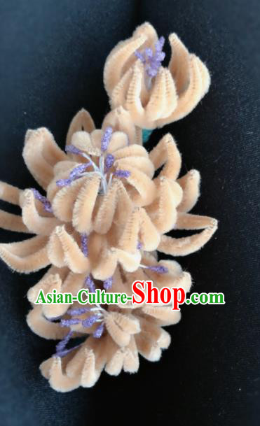 Traditional Chinese Qing Dynasty Palace Velvet Flowers Hairpins Handmade Ancient Manchu Lady Hair Accessories for Women