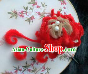 Traditional Chinese Qing Dynasty Red Velvet Chrysanthemum Hairpins Handmade Ancient Palace Hair Accessories for Women