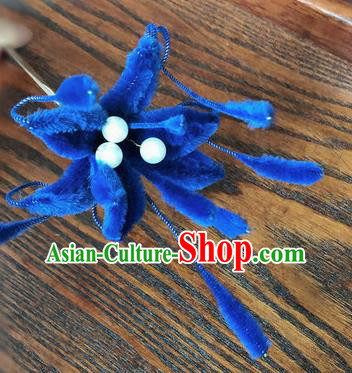 Traditional Chinese Qing Dynasty Royalblue Velvet Flower Hairpins Handmade Ancient Palace Hair Accessories for Women