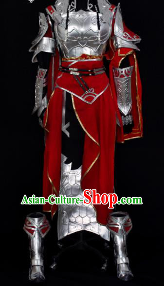 Traditional Chinese Cosplay Swordswoman Armour Hanfu Dress Ancient Female General Embroidered Costume for Women