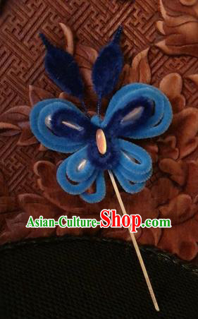Traditional Chinese Qing Dynasty Royalblue Velvet Butterfly Hairpins Handmade Ancient Palace Hair Accessories for Women