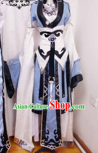 Traditional Chinese Cosplay Swordswoman Blue Hanfu Dress Ancient Court Princess Embroidered Costume for Women