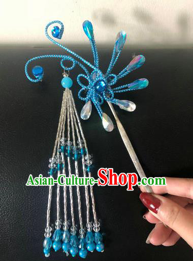 Traditional Chinese Qing Dynasty Blue Hairpins Handmade Ancient Manchu Lady Hair Accessories for Women
