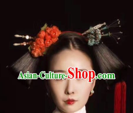 Traditional Chinese Qing Dynasty Manchu Princess Wigs Ancient Palace Empress Chignon Hair Accessories for Women