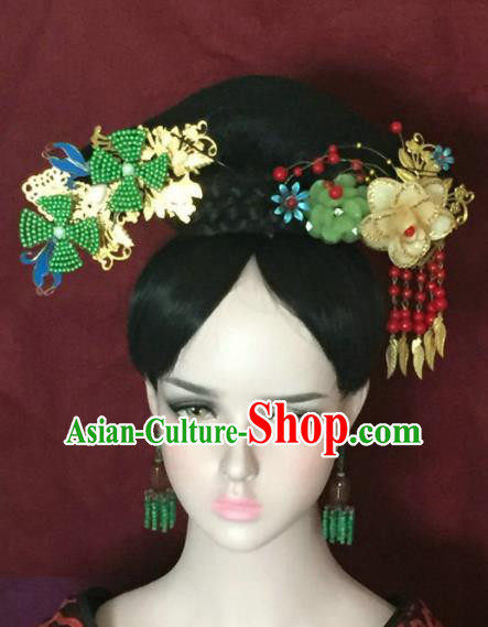 Traditional Chinese Qing Dynasty Imperial Consort Headwear Ancient Manchu Lady Hair Accessories for Women
