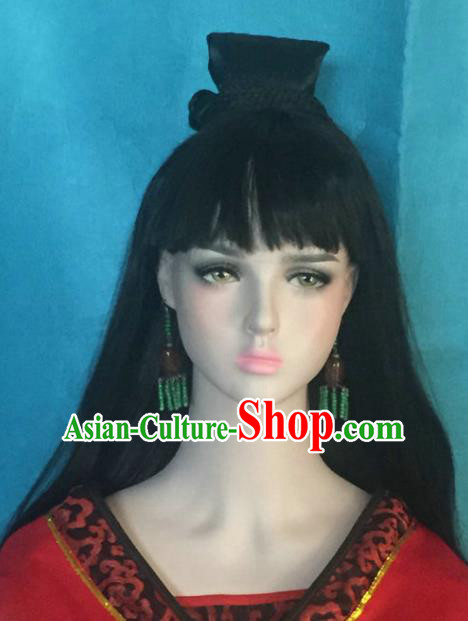 Traditional Chinese Ming Dynasty Swordswoman Wigs Ancient Palace Princess Chignon Hair Accessories for Women